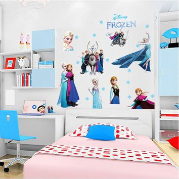 Cartoon 3D Frozen Wall Stickers for Kids Rooms Nursery Bedroom PVC Wall Decorations Removable Home Decor Creative Wallpaper