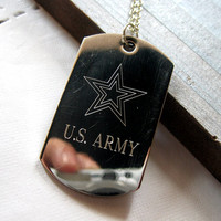 Mens custom necklace, stainless steel necklace, engraved necklace men, us army necklace, Personalized necklace, necklace gift men, Engraved