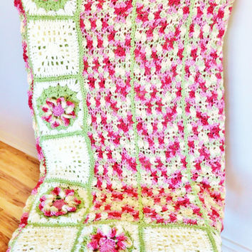 Crochet Afghan, Granny Square Afghan, Crochet Blanket, Pink And Green With White, Knit Blanket, Knit Afghan, Twin, Double, Throw