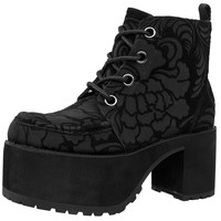 Black Burn Out Velvet Vegan Nosebleed Boot