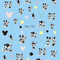 3 Sheets Black and White Mickey Mouse & Minnie Disney Cartoon Nail Art Stickers Water Transfer Decals YU771