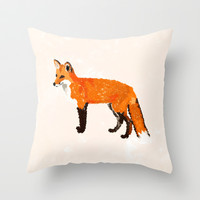 FOX: THE RED BANDIT Throw Pillow by Rebecca Allen