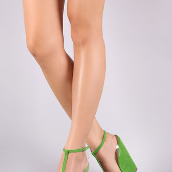 Ankle T-Strap Clear Band Platform Wedge | UrbanOG