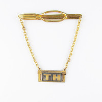 Vintage Hickock Tie Bar and Chain with Initials TH