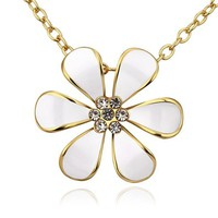 MLOVES Women's Delicate Diamanted Decent Flower Pendant Necklace