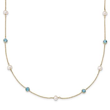 14K Yellow Gold 5-6mm White Rice FWC Pearl Blue Topaz 7 Pearl Station Necklace 18 Inch