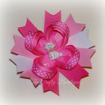 Kitty Cat Loopy Bow ~ Pink Kitty Cat Bow ~ Pink & White Bow ~ Large Kitty Cat Bow ~ Pink Polka Dot Bow ~ Polka Dot Loopy Bow ~Pink Kitty Cat