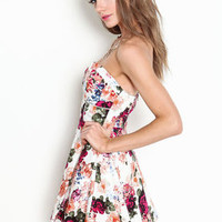 Floral Bustier Tulle Dress - LoveCulture