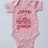 "Baby Girl Onesuit-""Jeep Crawler""-Baby Girl Outfit-Pink Onesuit bodysuit-Baby gift-Shower gift"