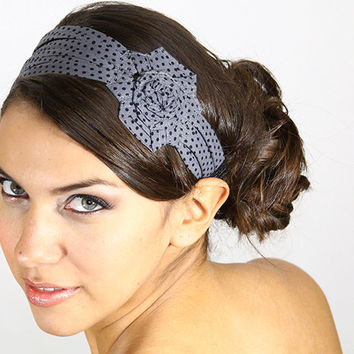 wide grey headband, polka dot headband, flapper style headband, cotton headband