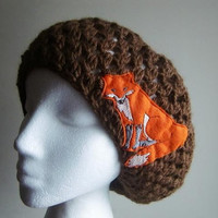 Cocoa Slouchy Beanie Crochet Hat with Fox Patch Applique
