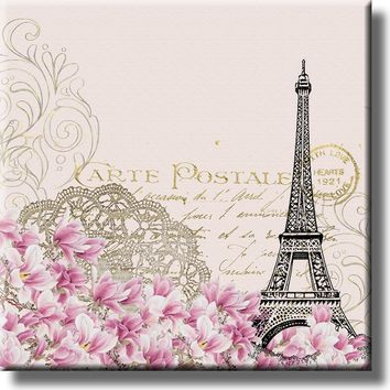 Vintage Eiffel Tower Post Card Picture on Stretched Canvas, Wall Art Décor, Ready to Hang