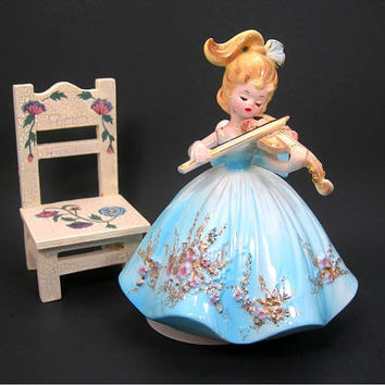 "Josef Originals Girl with Violin Musical Figurine - Plays ""Facination"" - Blue Gown with Pink and Gold Floral Trim - Vintage 1960-70s - Works"