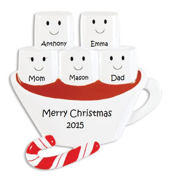 Custom Marshmellow Family Ornament, Cute Custom Family Ornament, Family of 5 Holiday Ornament