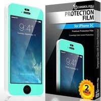 iPhone 5C Screen Protector, Caseology [HD Clarity] Apple iPhone 5C Screen Protector [2-Pack] [Turquoise Mint] [3-Month Warranty] Color Film [Crystal Clear] Front Screen Protection iPhone 5C Screen Protector (for Apple iPhone 5C Verizon, AT&T Sprint, T-mobi