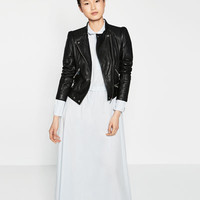 LEATHER BIKER JACKET - View All-OUTERWEAR-WOMAN | ZARA United States