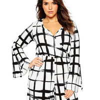 Plus Size White Grid Print Bell Sleeve V-Neck Romper
