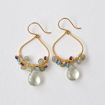 Gemstone Hoop Earrings Gold, Multi Colored Gems, Green Amethyst Garnet Blue Topaz Aquamarine, Semiprecious Jewelry