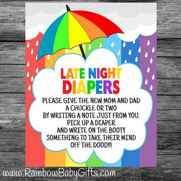 PRINTABLE Rainbow Baby Shower Late Night Diapers Sign | INSTANT DOWNLOAD
