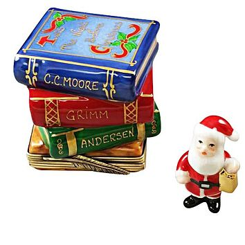 Santa Claus w Christmas Books Rochard Limoges Boxes