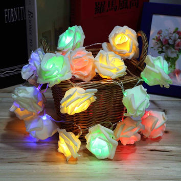 Fashion Holiday Lighting 20 LED Rose Flower String Lights Fairy Wedding Party Christmas Decoration