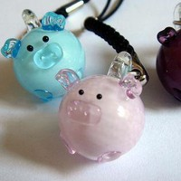 Lampwork Glass Pig Cell Phone | Accessory | cell phone charm pig blue | UsTrendy