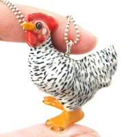 Chicken Hen Bird Porcelain Ceramic Animal Pendant Necklace | Handmade