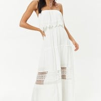 Strapless Crochet-Trim Maxi Dress