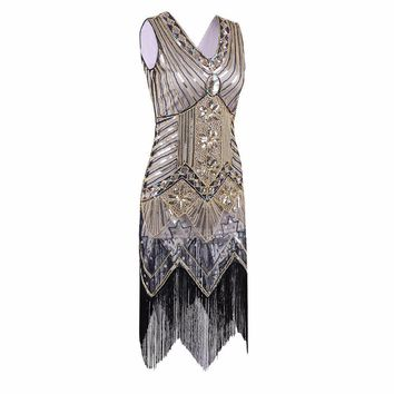 Great Gatsby Dress Women Sequined Dress V Neck Beaded Sequined Art Deco Flapper Dress 1920s Vintage Party Dresses Sexy Club