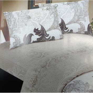 Elegant Jacquard Paisley Grey Floral Real Leaves Linen Fitted Sheet Set & Pillow Cases Sham Cover (FTS8197)