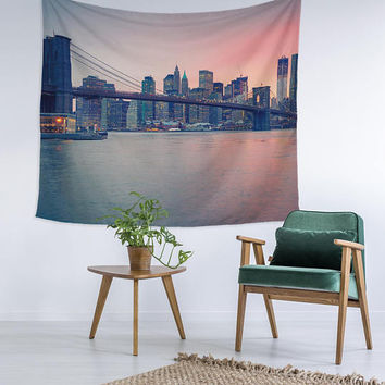 New York City Skyline View NYC Wall Art College Apartment Unique Dorm Room Decor Trendy Wall Tapestry