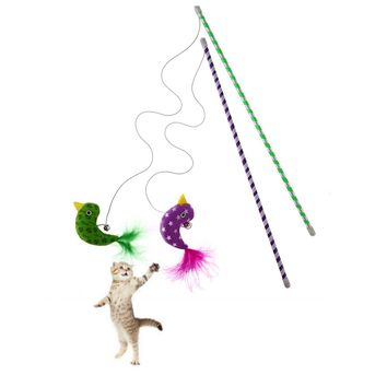 2pcs Cat Toys Interactive With Bells Elastic Rod Cat Plush Feather Chick Toys Pets Toys