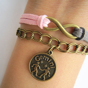 Combined Bracelet, Anklet, Infinity Bracelet, Constellation Bracelet, Chain Bracelet, Mermaid Bracelet, Leather Rope, Personalized