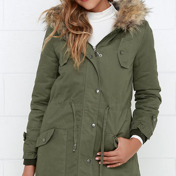 Luck of the Draw Faux Fur Olive Green Parka Jacket