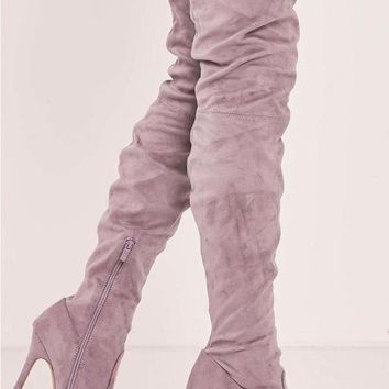 YANA MAUVE FAUX SUEDE OVER THE KNEE HEELED BOOTS