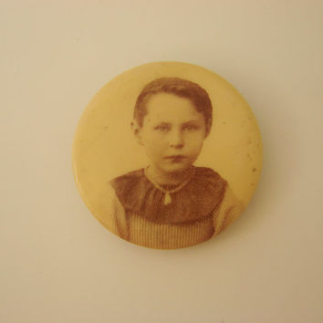 Unusual Victorian Celluloid Photo Button Mourning Pin (Adorable Child)
