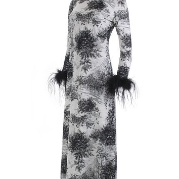Vintage Novelty Print Dress Matching Scarf 70's Clothing Women's Size Small / Tree Print Marabou Feathers Black Gray White Long Sleeve Maxi