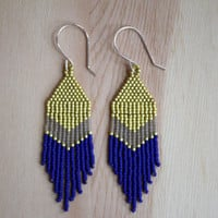 short and pointed PERIDOT brick-stitched delica seed bead earrings