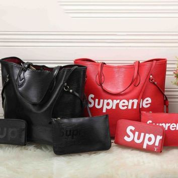 Supreme X LV Fashion Women Shopping Leather Tote Handbag Shoulder Bag Three Piece I