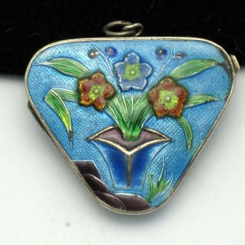 Antique SILVER Chinese Export Cloisonne Enamel Locket Pendant Hallmarked