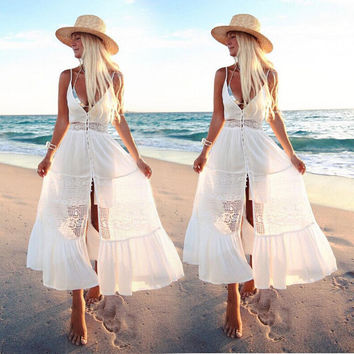 Boho Women Clothing Dresses Maxi Vintage Floral Sleeveless Deep V Neck Sundress Summer Party Beach Dress Women