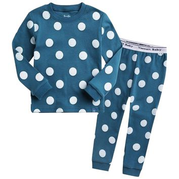 Blue & White Polka Dot Kids Pajamas