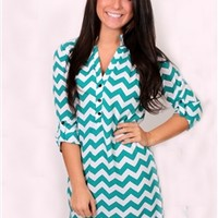 Class Act Chevron Dress in Mint