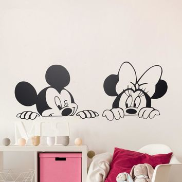Cartoon Mickey Minnie Mouse Cute Animal Vinyl Wall stickers Mural Wallpaper Baby Room Decor Nursery Wall Decal Home Decor