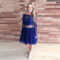 Two Piece Lace Homecoming Dresses Long Sleeves Beaded Formal Dress Royal Blue Graduation 8th Grade Sweet 15 Short Party Gowns