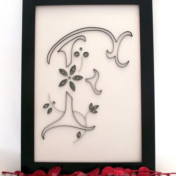 nursery wall decoration, personalized nursery décor, nursery room, nursery ideas, nursery wall art, nursery decorations, initial f quilling