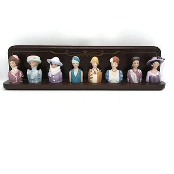 Vintage Avon Ceramic Victorian Ladies Thimbles Complete Set of 8 with Rack, Avon American Fashion Silhouettes Ladies Thimble Set