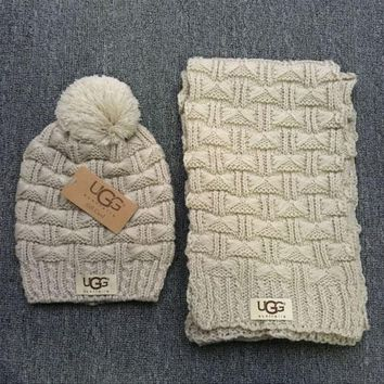 DCCKB62 Gucci' Fashion Casual Trending Women Winter Knit Warmer Hat Cap Scarf Set Grey G