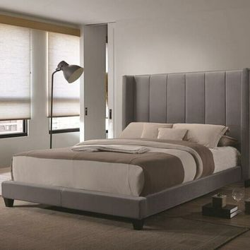 Coaster 300627Q Hudson collection grey velvet tufted and upholstery queen size bed set