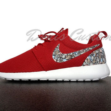 Nike Roshe Run One Mens Red Custom Stones Print